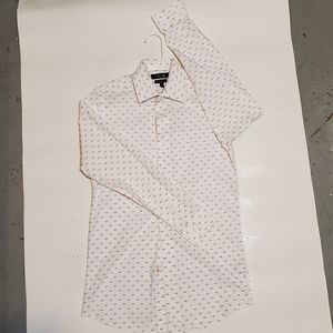 Apt.9 Long Sleeve Button Up Shirt White With Fish